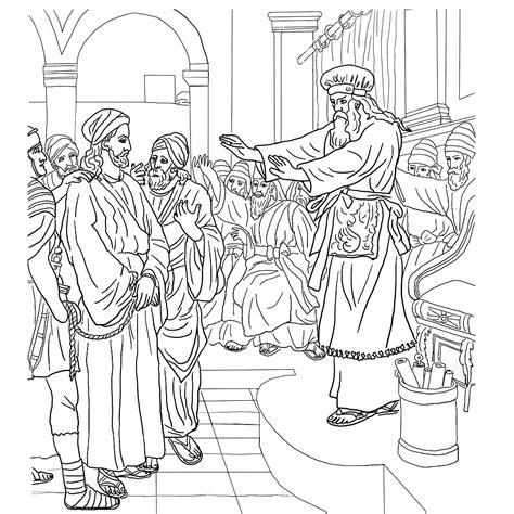 Kleurplaat Jezus Bij Pilatus by Leuk Voor Jezus Bij Hogepriester Kajafas