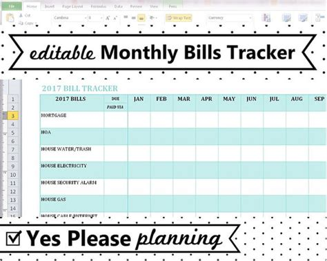editable monthly bill tracker spreadsheet template