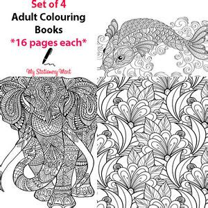 4 set adult colouring book therapy book garden animal