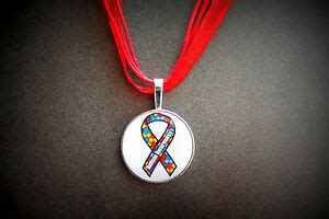 autism awareness ribbon necklace silver pdd aspergers