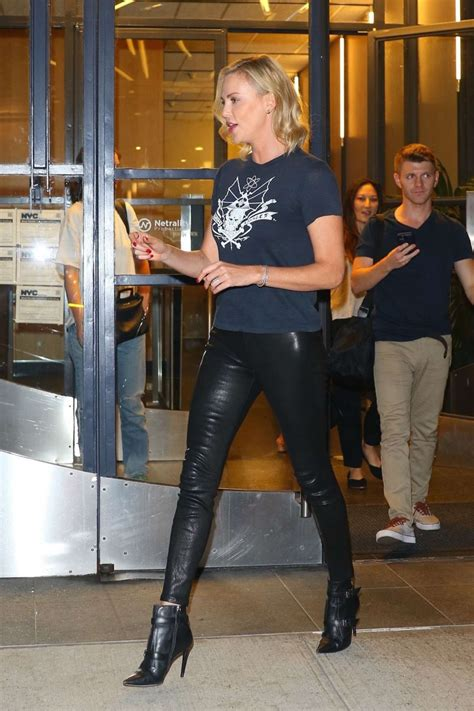 charlize theron hot  leather pants