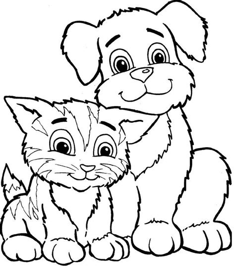 cat  dog coloring pages coloring home