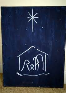simple christmas night canvas painting