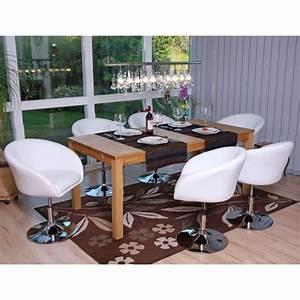 Lot de 6 chaises salle a manger blanc reglable achat for Salle À manger contemporaineavec lot chaises