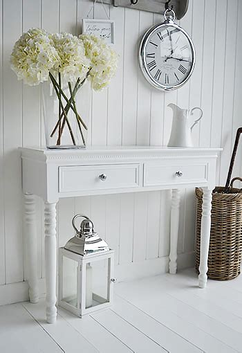 england white console table  drawers  silver