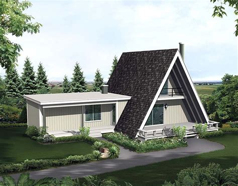 Retro Style House Plan 97237 with 2 Bed 1 Bath A frame
