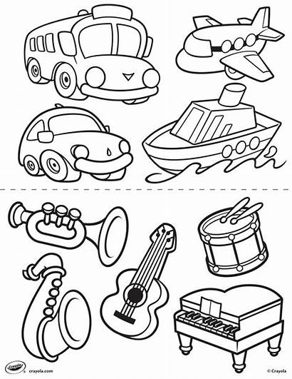 Transportation Pages Coloring Crayola Instruments Toddlers Sheets