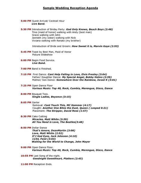 wedding reception timeline template wedding reception program templates search wedding do s wedding