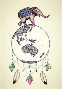 Elephant Dream Catcher Drawing