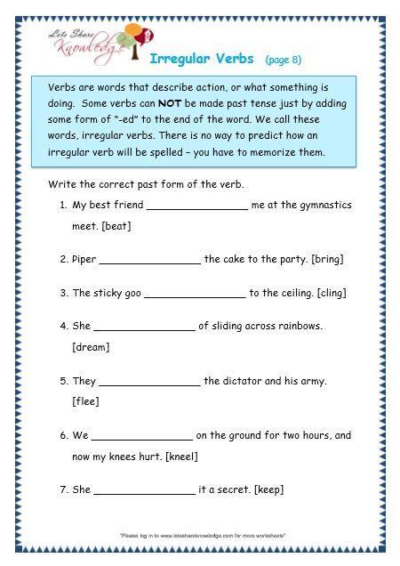 irregular verbs worksheet verb worksheets irregular