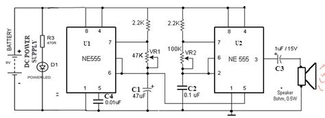 siren circuit working using ne555 timer and application
