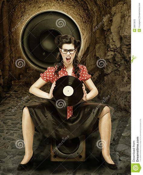 Pinup Girl Style Retro Woman Analogue Record Stock