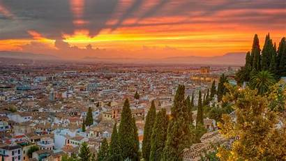 Spain Cityscapes Sunset Trees Nature Wallpaperup