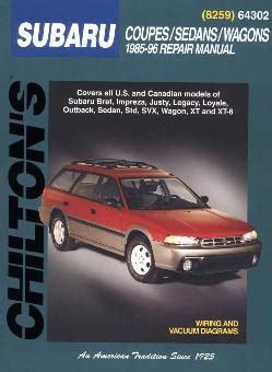 small engine repair training 1989 subaru justy engine control 1985 1996 subaru coupes sedans wagons chilton s total car care manual