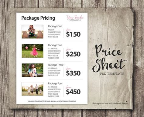 price list template photography pricing list sell sheet etsy
