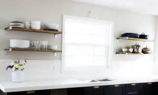 white and black kitchen ideas our diy reclaimed wood open shelving fresh flowers