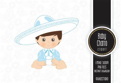 Baby Charro Mexican Folklore Clipart Light Blue Aztec