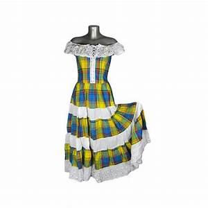 robe longue madras bleu et jaune broderie blanche m39elle With robe blanche et bleu