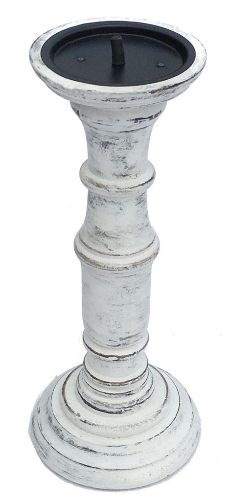 white wooden candle holders rustic antique white solid carved pillar church wooden