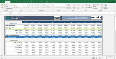 profit  loss statement template  excel spreadsheet