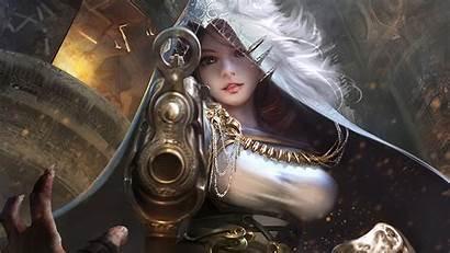 Fantasy Warrior Gunslinger Digital Wallpapers Hood Gun