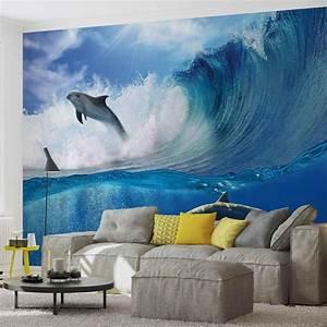 Poster Mural Nature : dauphins mer vague nature poster mural papier peint acheter le sur ~ Teatrodelosmanantiales.com Idées de Décoration