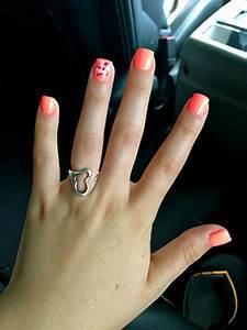 Neon orange summer nails with flower design - Yelp