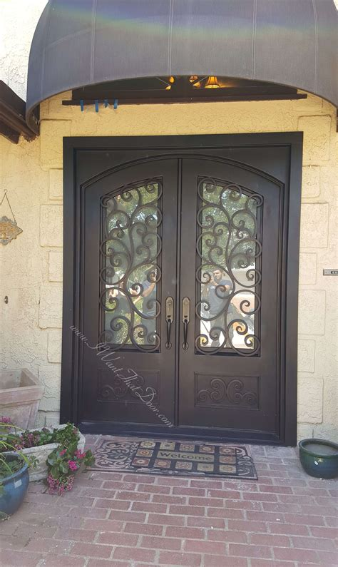 Tuscany Black/Gold Double Entry Iron Front Doors ...