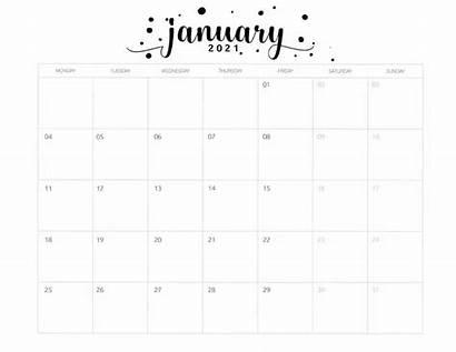 Calendar Printable Monthly January Brush Monday Start