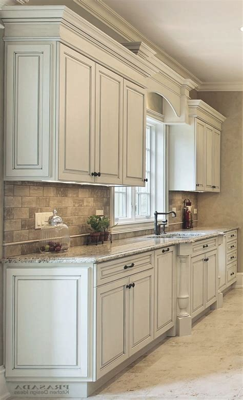 Off White Kitchen Cabinets With Chocolate Glaze   K C R