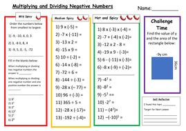 multiplying and dividing negative numbers differentiated worksheet by msmmaths teaching resources