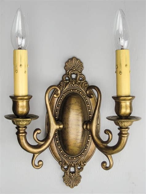 four antique wired brass wall sconce fixtures lighting