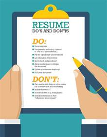 do and donts curriculum vitae resume dos and don ts