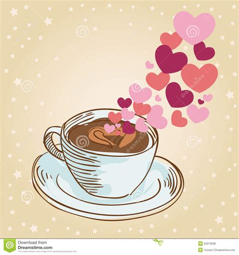 hearts coffee cup greeting card royalty  stock