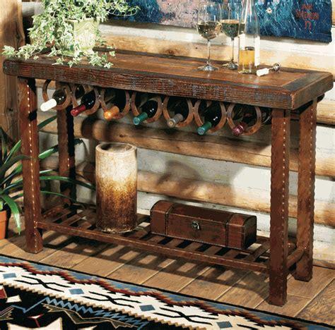 Western Furniture: Horseshoe Wine Rack Table Lone Star