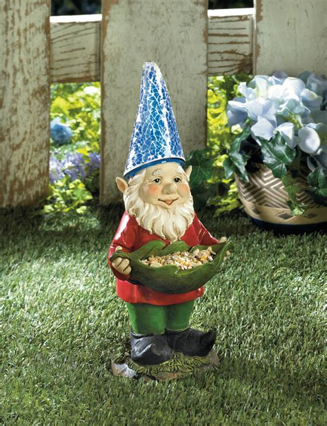 bird feeder gnome solar garden statue wholesale at koehler