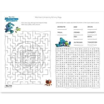 Monsters University Activity Page   Disney Family