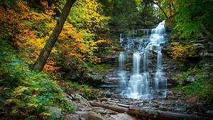 Cascading, Waterfall, In, Fall, River, Forest, Yellow, Leaves, Rocks, Pennsylvania, Wallpapers13, Com
