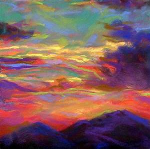 SURREAL SUNSET - 6 x 6 pastel by Susan Roden, painting by ...