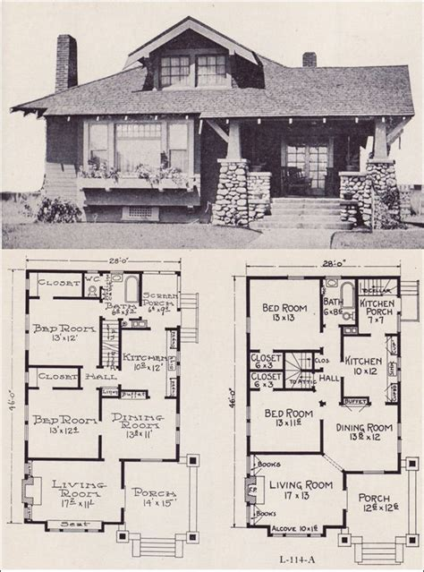 Craftsman Style Floor Plans by 1922 Craftsman Style Bunglow House Plan No L 114 E W