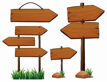 Wooden Signs Vector Different Wood Pole Illustration