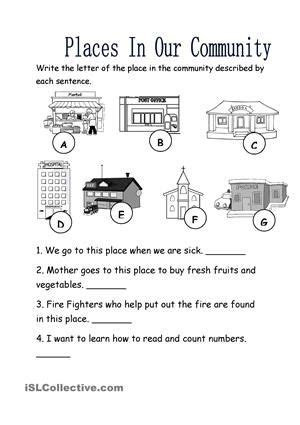 places in our community worksheet free esl printable 322 | df49b4f66b666afc4df5b97001e76e46 printable worksheets vocabulary