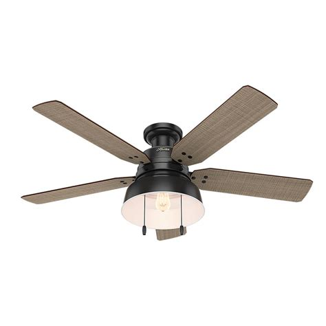 matte black ceiling fan with light hunter mill valley 52 in led indoor outdoor low profile