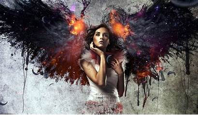 Fire Wings Angel Female Wallpapers Background Backgrounds