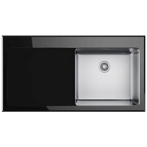 franke black kitchen sinks franke kubus kbv 611 black glass 1 0 bowl inset kitchen 3518