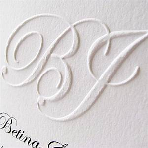 Custom embossed monogram wedding invitation digby rose for Wedding invitations with embossed initials