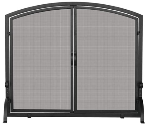 single panel fireplace screen with doors uniflame medium single panel black wrought iron fireplace