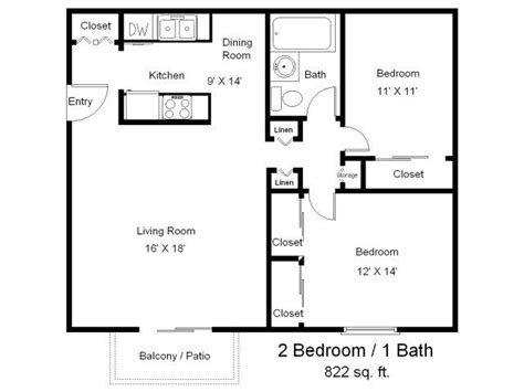 2 Bedroom 1 Bath Floor Plans by One Bedroom One Bath Floor Plans Two Bedrooms One