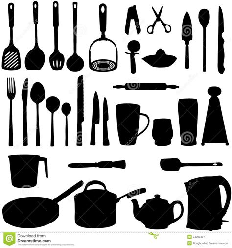 kitchen utensils silhouette stock illustration image