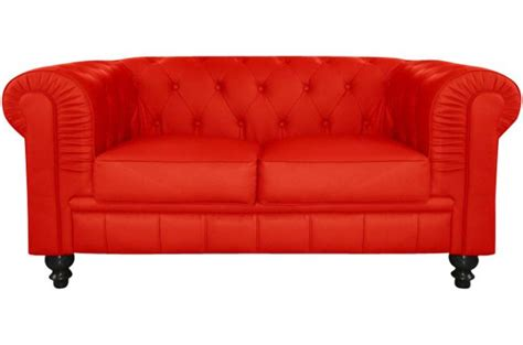 canap 233 chesterfield cuir rouge capitonn 233 2 places declikdeco